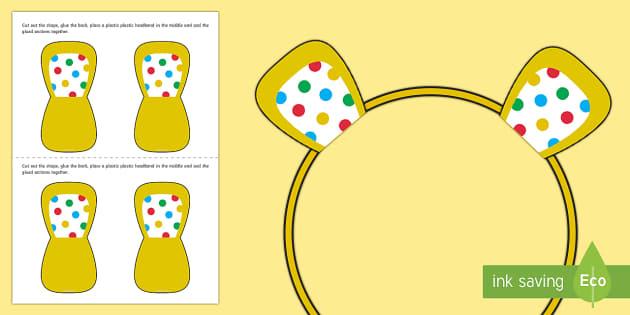 Spotty Bear Ears Activity - pudsey, bear, spotty, spotify, children in need