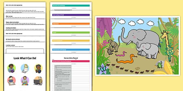 EYFS Nursery On Entry Assessment Pack - baseline assessment, eyfs, on entry, assessment, record