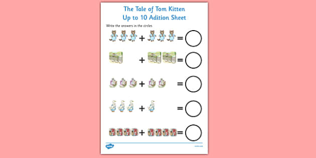 Beatrix Potter - The Tale of Tom Kitten Up to 10 Addition Sheet - beatrix potter, tom kitten