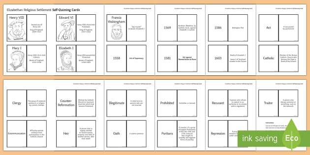 Elizabethan Religious Settlement Self-Quizzing Cards - Elizabethan Religious Settlement, Protestant, Catholics, Anglicans, compromise, religion, religious,