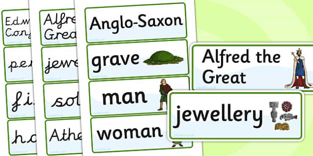 Anglo Saxons Word Cards - anglo saxons, history, visual aids
