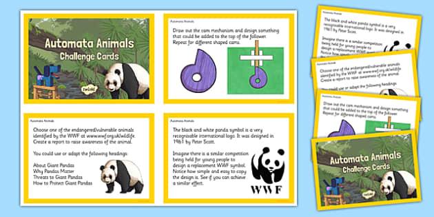 Automata Animals - Challenge Cards - display, automata animals, design and technology