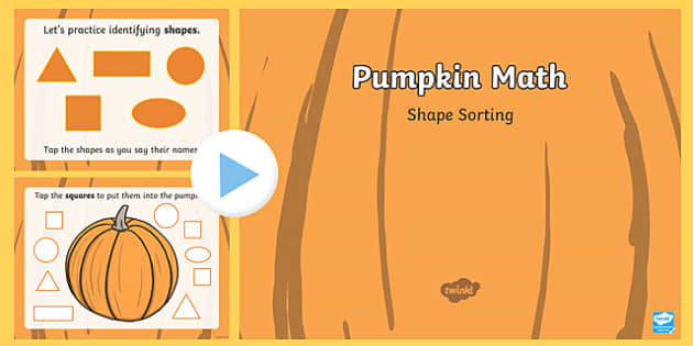 Pumpkin Math Shape Sorting Interactive PowerPoint