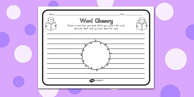 Word Glossary Comprehension Worksheet - australia, glossary