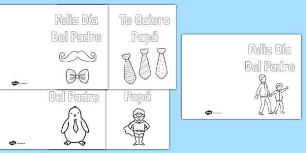 Tarjeta para colorear El día del Padre - spanish, Father's Day, card, colouring, Dia del padre