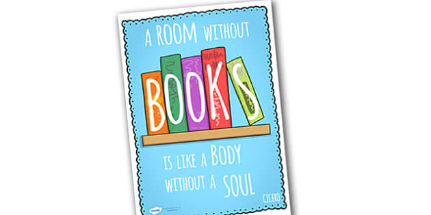 A Room Without Books Reading Quote Poster - a room without books poster, reading quotes, book quote poster, quote poster, display poster, reading, books