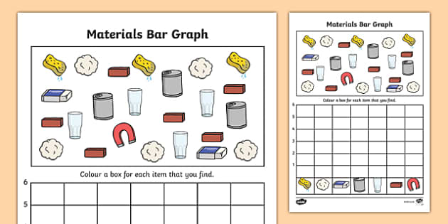 Materials Bar Graph Activity Worksheet - material, bar graph, bar