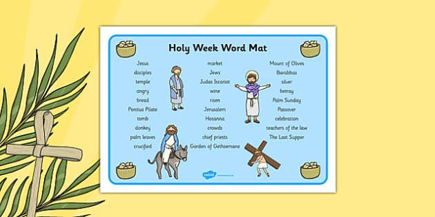Holy Week KS1 Pack Word Mat - Holy Week, Easter, word mats, vocabulary
