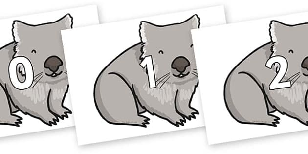 Numbers 0-50 on Wombat - 0-50, foundation stage numeracy, Number recognition, Number flashcards, counting, number frieze, Display numbers, number posters