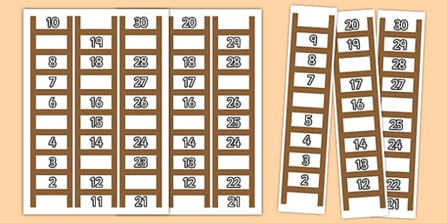 Ladder Missing Number to 30 Worksheets - ladder, missing number, 30, worksheets, numeracy, maths, numbers