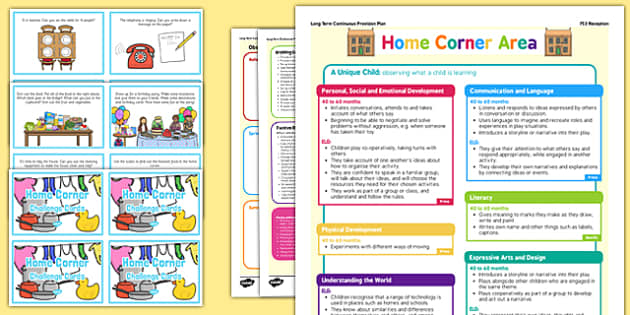 Home Corner Continuous Provision Plan Poster and Challenge Cards Pack Reception FS2