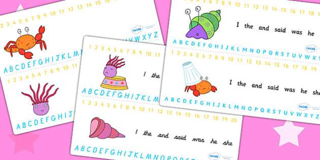 Combined Number and Alphabet Strips to Support Teaching on Sharing a Shell -  alphabet