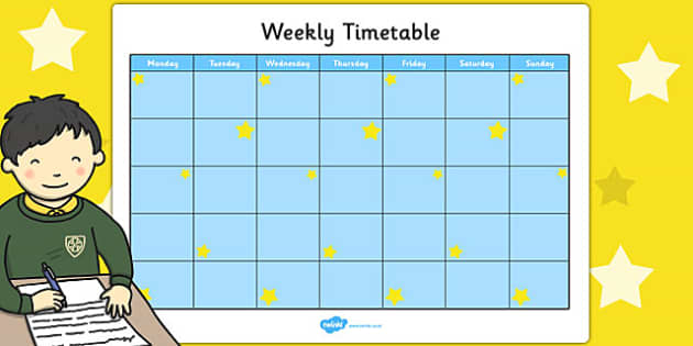 Blue and Yellow Stars Themed Weekly Timetable - timetable, stars