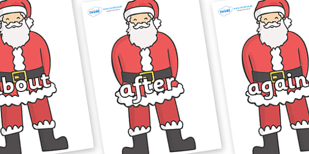 KS1 Keywords on Father Christmas - KS1, CLL, Communication language and literacy, Display, Key words, high frequency words, foundation stage literacy, DfES Letters and Sounds, Letters and Sounds, spelling
