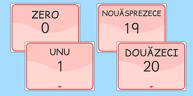 Numerele naturale in cifre si litere, Planse - matematica, A4