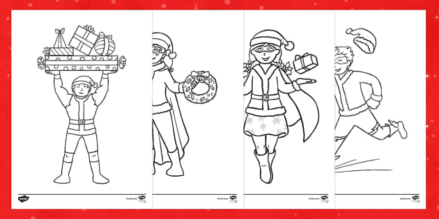 Santa Suit Superheroes Colouring Pages