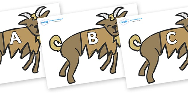 A-Z Alphabet on Little Billy Goat Gruff - A-Z, A4, display, Alphabet frieze, Display letters, Letter posters, A-Z letters, Alphabet flashcards