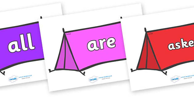 Tricky Words on Tents - Tricky words, DfES Letters and Sounds, Letters and sounds, display, words