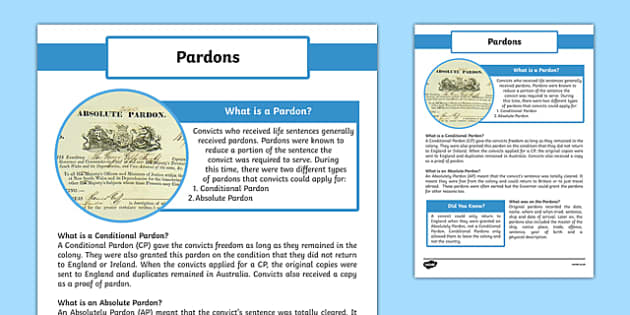 The First Fleet Pardons Information Sheet - australia, The First Fleet, Pardons, Absolutely Pardon, Conditional Pardons, convicts, apply, information, information sheet