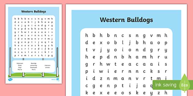 Western Bulldogs 2016 Word Search-Australia