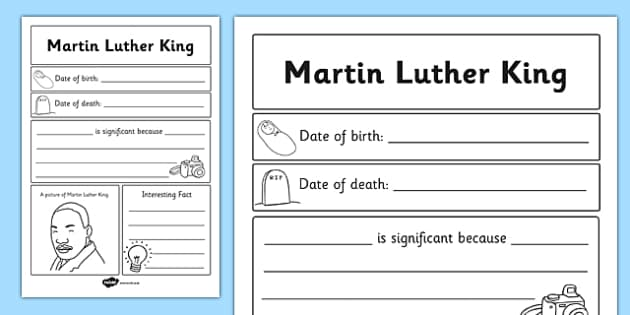 Martin Luther King Significant Individual Writing Frame - writing