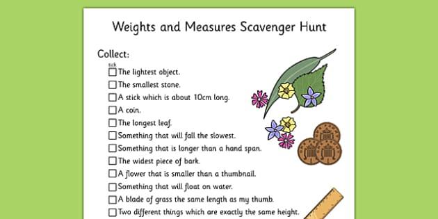 Weights and Measures Scavenger Hunt KS1 - scavenger hunt, ks1