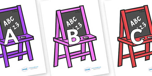 A-Z Alphabet on Chalk Boards - A-Z, A4, display, Alphabet frieze, Display letters, Letter posters, A-Z letters, Alphabet flashcards