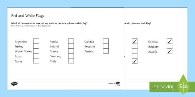 Red and White Flags Activity Sheet - Geography Club, flags, countries, homework,worksheet