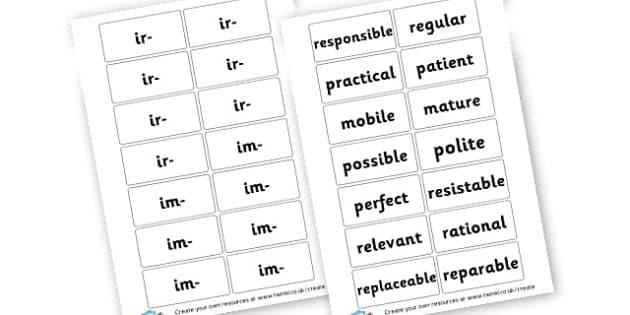 Ir- and Im- prefix word match game  - KS2 Prefixes and Suffixes Primary Resources, Prefixes, Suffixes