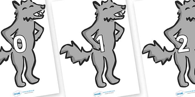 Numbers 0-31 on Wolf - 0-31, foundation stage numeracy, Number recognition, Number flashcards, counting, number frieze, Display numbers, number posters