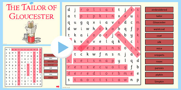 The Tailor of Gloucester Interactive Wordsearch - tailor, gloucester