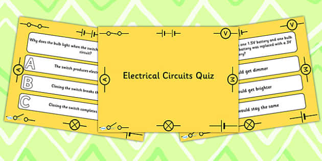 Electrical Circuits PowerPoint Quiz - electric, circuits, quiz