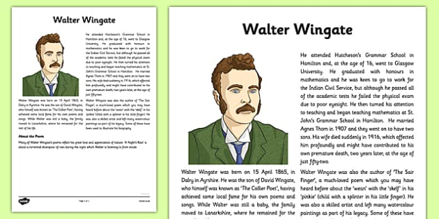 Walter Wingate: A Night's Rain Information Sheet - cfe, walter wingate, a nights rain, information sheet