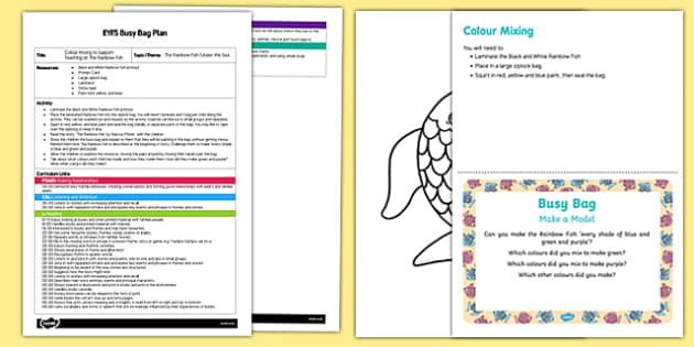 EYFS Colour Mixing Busy Bag Plan and Resource Pack to Support Teaching on The Rainbow Fish