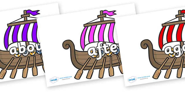 KS1 Keywords on Viking Longboats - KS1, CLL, Communication language and literacy, Display, Key words, high frequency words, foundation stage literacy, DfES Letters and Sounds, Letters and Sounds, spelling