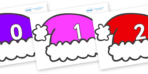 Numbers 0-31 on Santa Hats - 0-31, foundation stage numeracy, Number recognition, Number flashcards, counting, number frieze, Display numbers, number posters