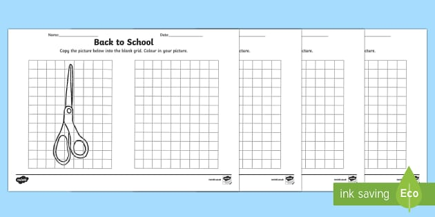 Back to School Copy Drawing Art Activity Sheets
