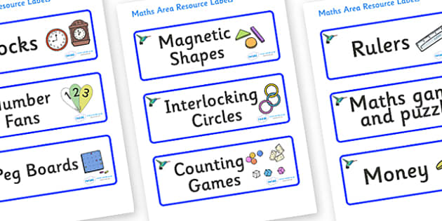 Hummingbird Themed Editable Maths Area Resource Labels - Themed maths resource labels, maths area resources, Label template, Resource Label, Name Labels, Editable Labels, Drawer Labels, KS1 Labels, Foundation Labels, Foundation Stage Labels, Teaching