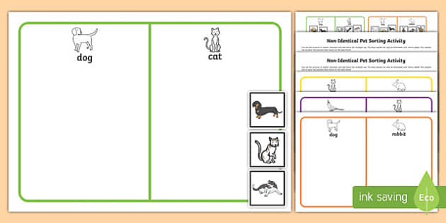 Workstation Pack: Non Identical Pet Sorting Activity Pack