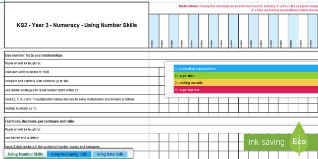 KS2 Year 3 Numeracy Assessment Tracker-Welsh - Year 3, Maths, Numeracy, LNF, lnf, Assessment, Assessment Tracker, LNF Assessment.,Welsh