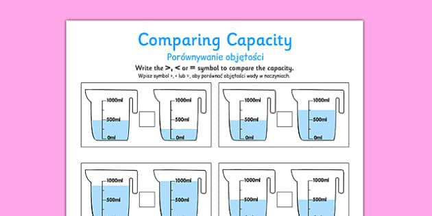 Comparing Capacity Activity Sheets Polish Translation - polish, comparing capacity, activity sheets, activity, sheets, compare, capacity, worksheet