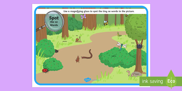 Phase 5 oe Words Minibeasts Scene Magnifying Glass Activity Sheet - phonics, letters and sounds, phase 5, oe sound, magnifier, magnifying glass, find, activity, group,