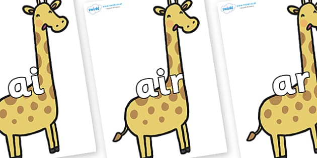 Phase 3 Phonemes on Giraffes - Phonemes, phoneme, Phase 3, Phase three, Foundation, Literacy, Letters and Sounds, DfES, display