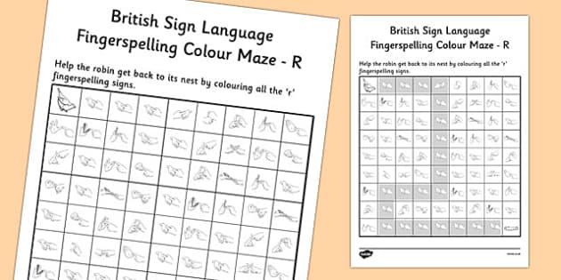 British Sign Language Left Handed Fingerspelling Colour Maze R