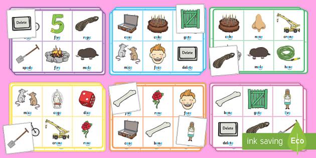 Split Digraph Bingo Game (Magic e) - game, bingo, 'e', letter e, magic, activity, literacy, games, matching, cards, letter, recognition, silent e