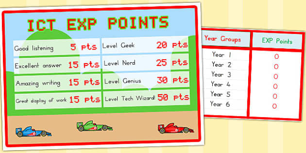 Classroom EXP Points Spreadsheet and Poster - posters, visual