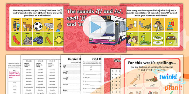 PlanIt Y1 Term 1A W1: 'ff' and 'ss'  Spelling Pack