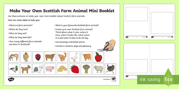 Make Your Own Scottish Farm Animal Mini Booklet-Scottish - Requests CfE, Scottish farming, farming, farm animals, creative tasks, first level,Scottish