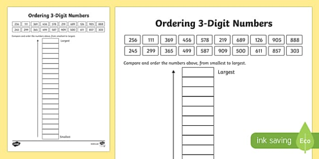 Place Value Ordering 3-Digit Numbers Activity Sheet-Scottish