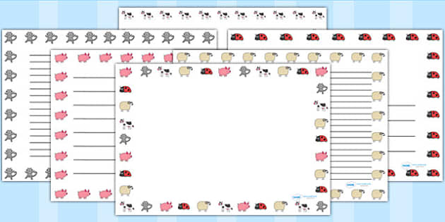 Page Borders Landscape to Support Teaching on What the Ladybird Heard - writing template